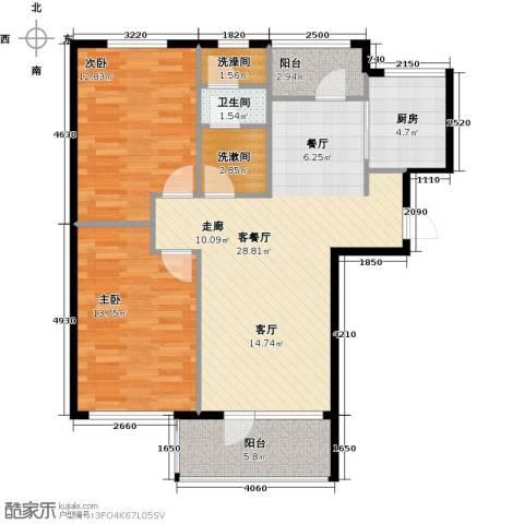 红星海世界观2室1厅1卫1厨82.89㎡户型图