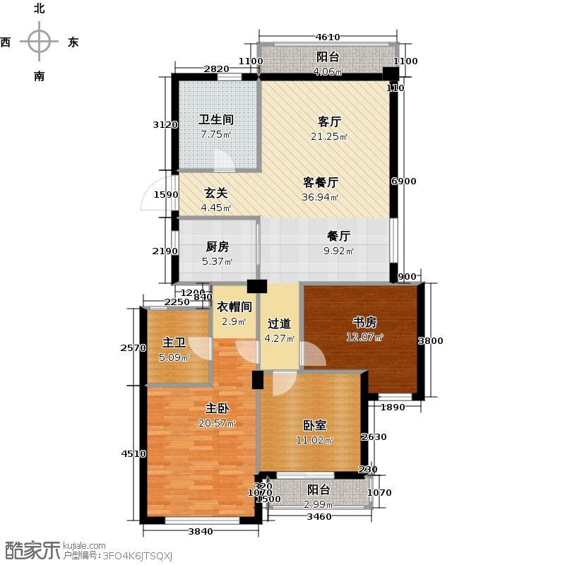 绿城西子・田园牧歌139.00㎡4#楼2单元中套户型3室2厅2卫