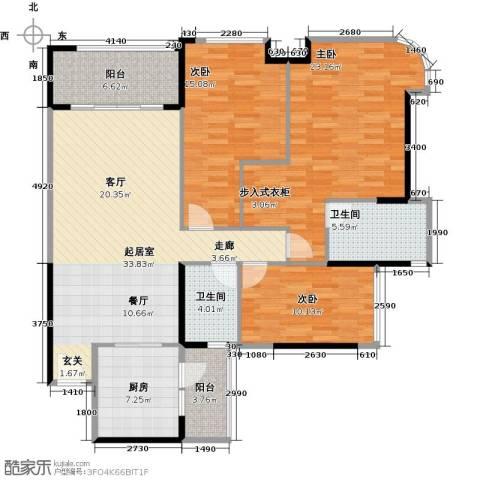 雅居乐剑桥郡3室0厅2卫1厨127.00㎡户型图