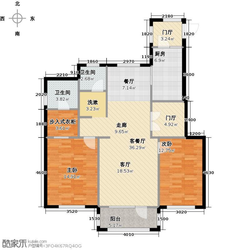 红星海世界观110.00㎡户型2室1厅2卫1厨