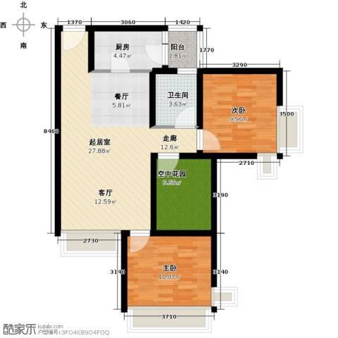 富通天邑湾一期2室0厅1卫1厨93.00㎡户型图
