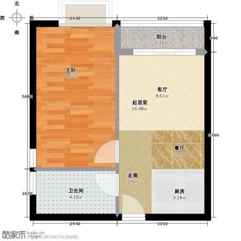 星光广场1室0厅1卫0厨53.00㎡户型图