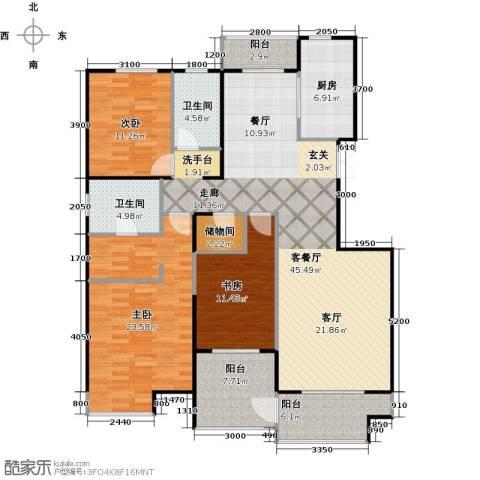 益田影人四季花园3室1厅2卫1厨190.00㎡户型图