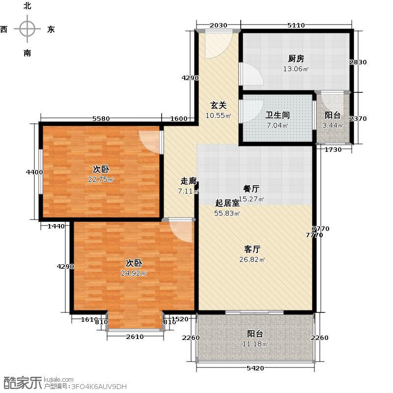 嘉怡豪庭93.52㎡户型2室1卫1厨