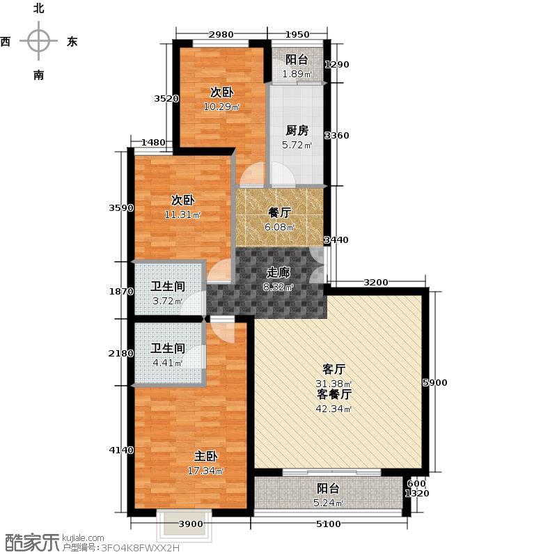 江南山水145.80㎡A1E1户型3室1厅2卫1厨