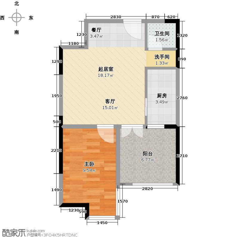 华宇金沙时代41.95㎡12号楼5号房户型1室1卫1厨