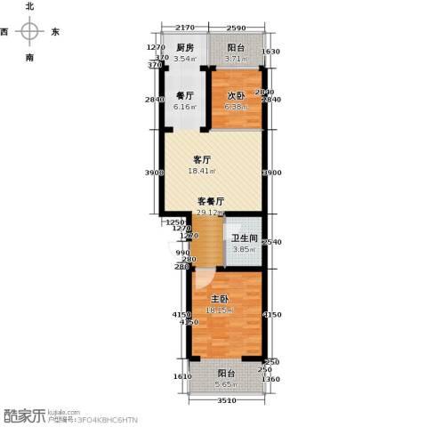 尚北青年公寓(鑫基家属小区)2室1厅1卫0厨70.00㎡户型图