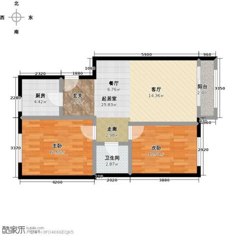 领秀慧谷2室0厅1卫1厨89.00㎡户型图