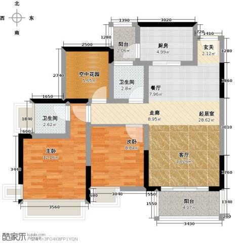富通天邑湾一期2室0厅2卫1厨95.00㎡户型图
