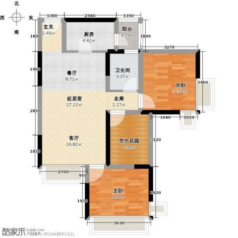 富通天邑湾一期2室0厅1卫1厨84.00㎡户型图
