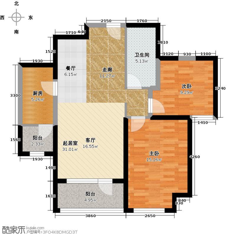 华业东方玫瑰88.00㎡瑞祥阁D5-04户型2室1卫1厨