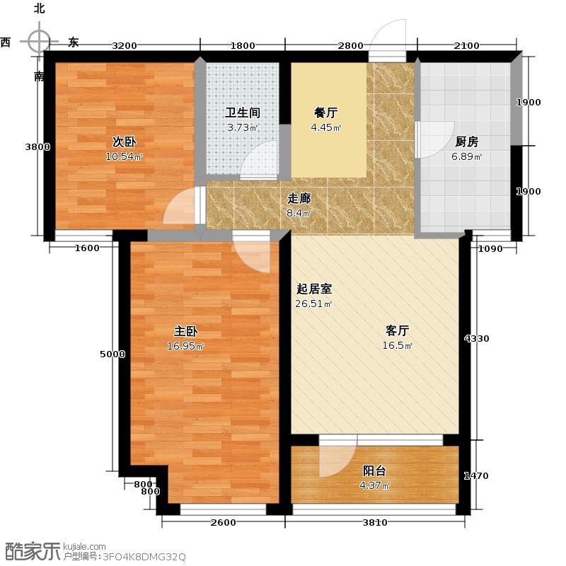 华业东方玫瑰91.00㎡A8-2-02户型2室1卫1厨