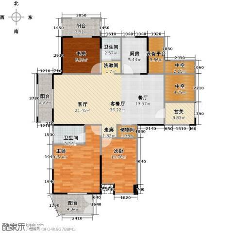 紫玉公馆3室1厅2卫1厨139.00㎡户型图