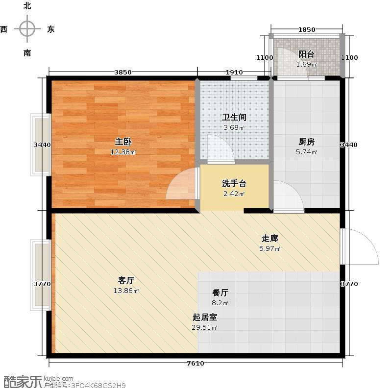 瑞雪春堂64.37㎡28号楼A12户型1室1卫1厨