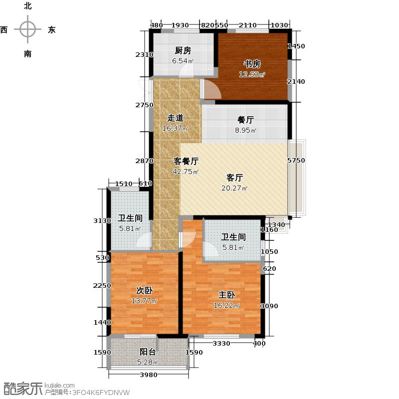 金隅田员外119.89㎡东边套B-2户型3室2厅2卫