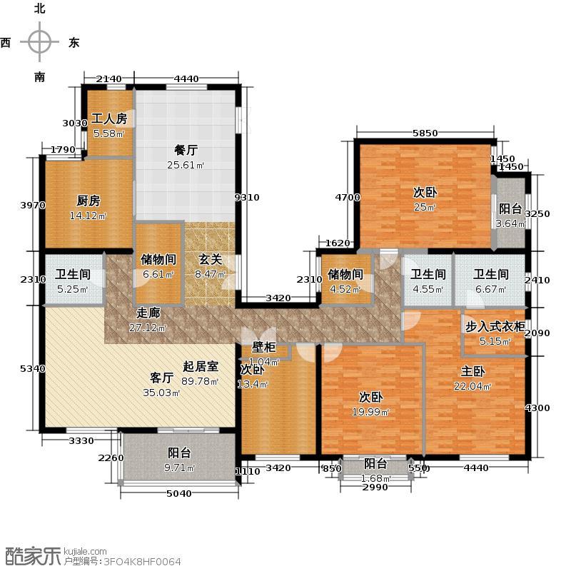 北京华侨城332.00㎡DT1-A2-6楼2单元3001三室户型4室3卫1厨