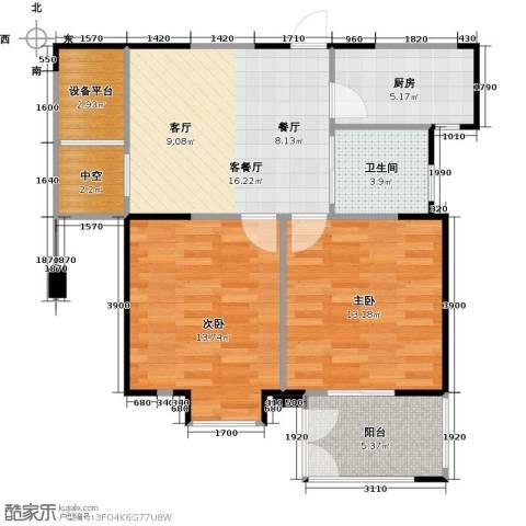 紫玉公馆2室1厅1卫1厨80.00㎡户型图