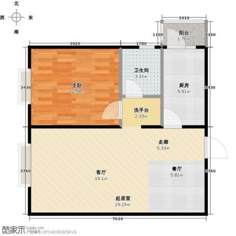 瑞雪春堂1室0厅1卫1厨64.00㎡户型图