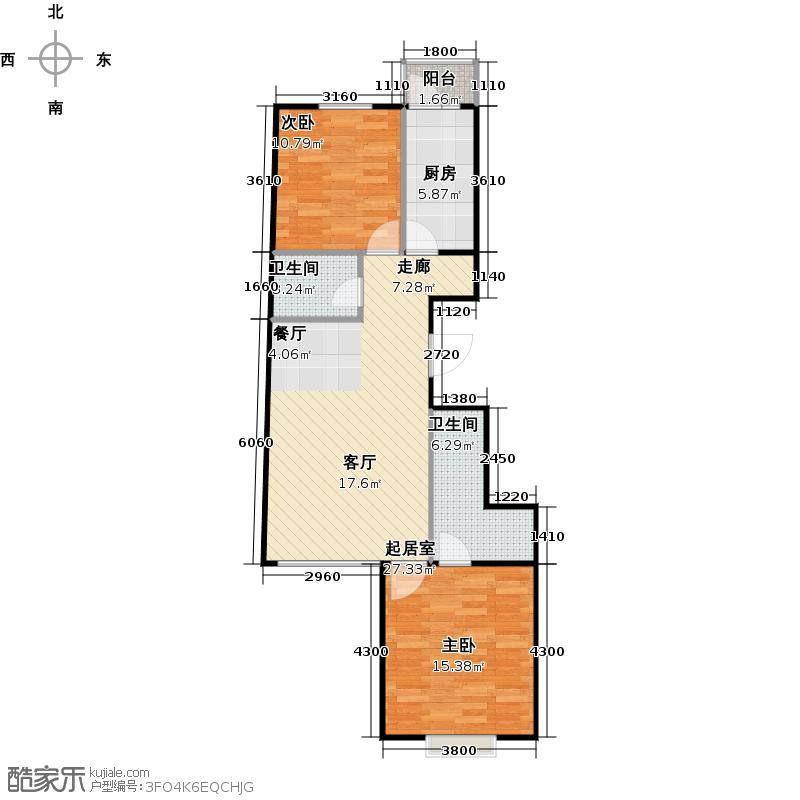 瑞雪春堂85.80㎡30号楼B26户型2室2卫1厨