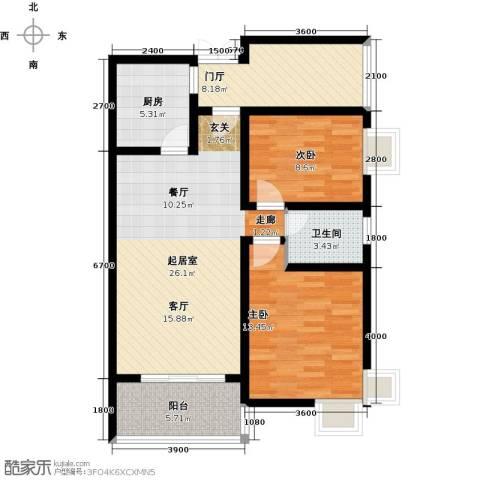 上上城2室0厅1卫1厨90.00㎡户型图
