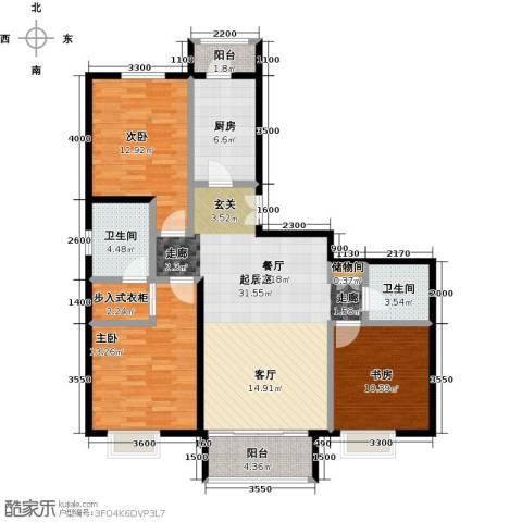 领秀慧谷3室0厅2卫1厨124.00㎡户型图