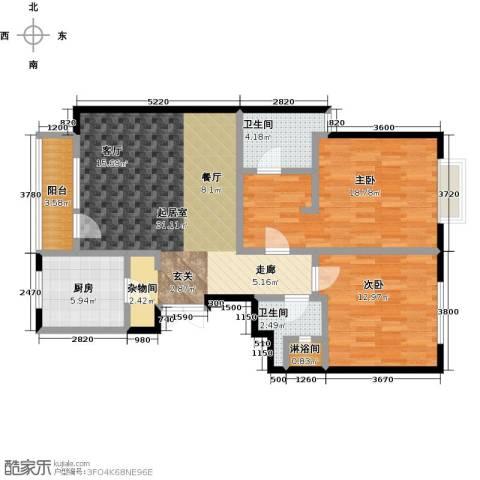 亿城西山公馆2室0厅2卫1厨109.00㎡户型图