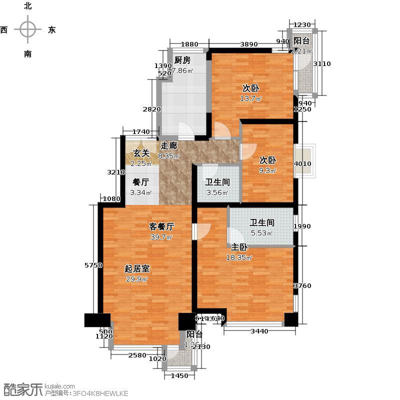 北京华侨城116.10㎡A2-9号楼Bn-b户型3室1厅2卫1厨