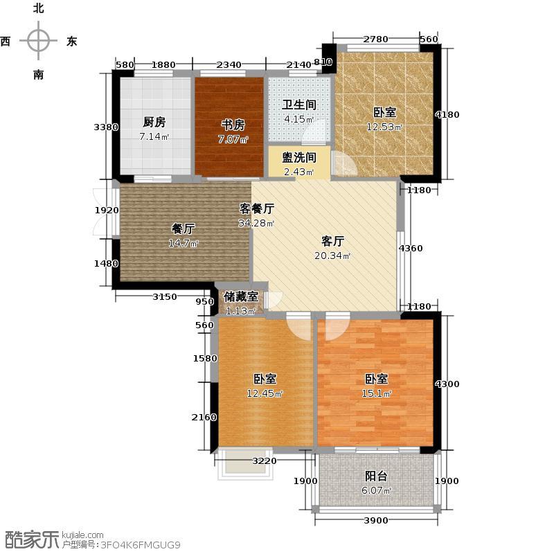 铂金名筑112.00㎡1号楼偶数层户型4室2厅1卫