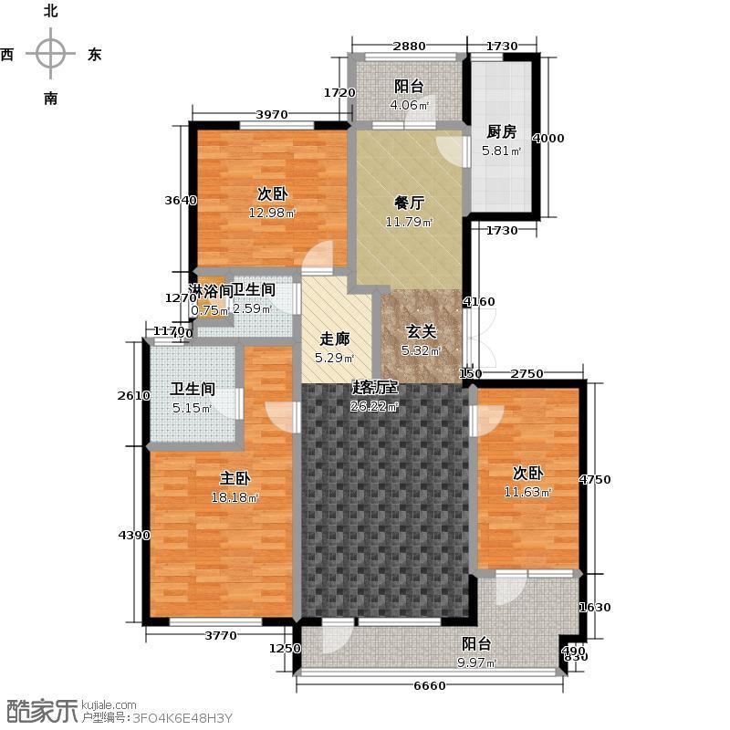 亿城西山公馆145.00㎡A户型3室2卫1厨