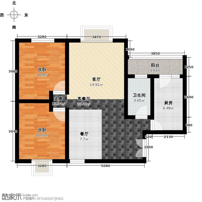 水墨林溪77.97㎡二期B2a户型2室1厅1卫1厨