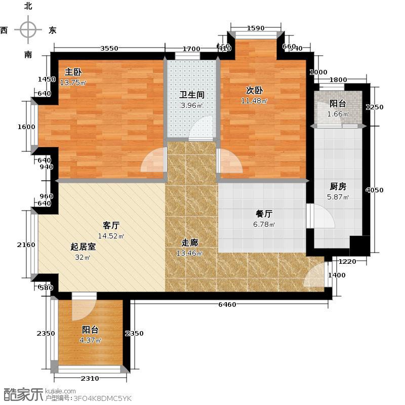 华业东方玫瑰94.00㎡世家风华户型2室1卫1厨