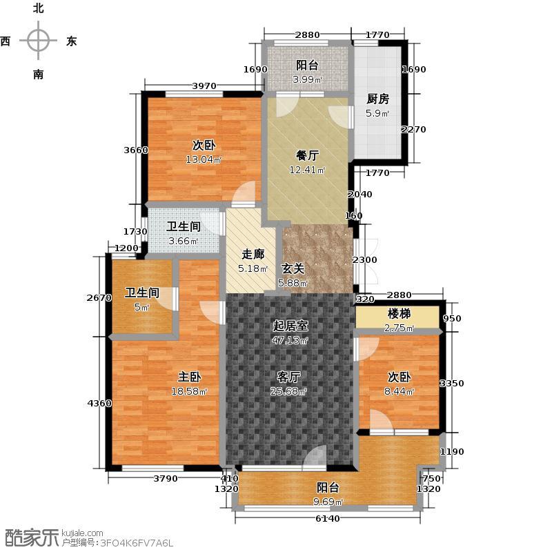 亿城西山公馆150.00㎡D-B首层户型3室2卫1厨