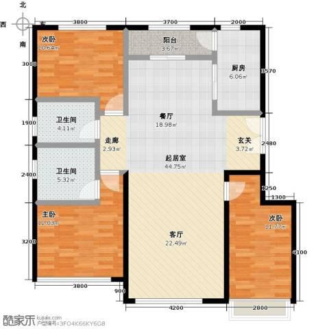 北京城建徜徉集3室0厅2卫1厨134.00㎡户型图