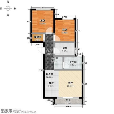 北京城建徜徉集2室0厅1卫1厨65.00㎡户型图