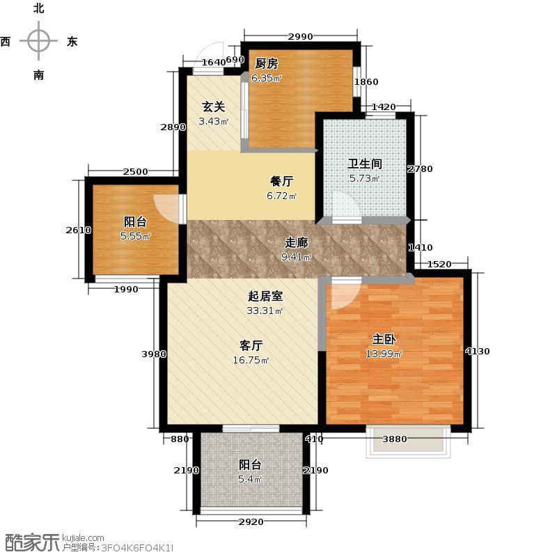 金地自在城78.00㎡38号楼和39号楼D1型奇数标准层户型1室1卫1厨