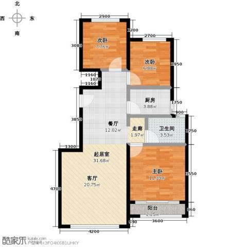 北京城建徜徉集3室0厅1卫1厨92.00㎡户型图