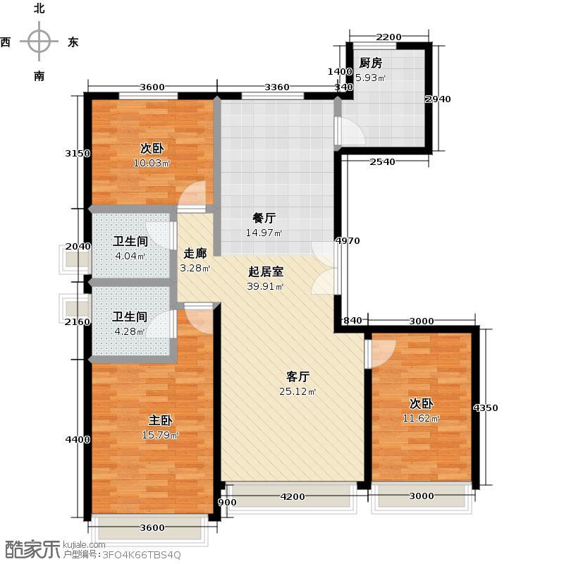 北京城建徜徉集134.00㎡A-1户型3室2卫1厨