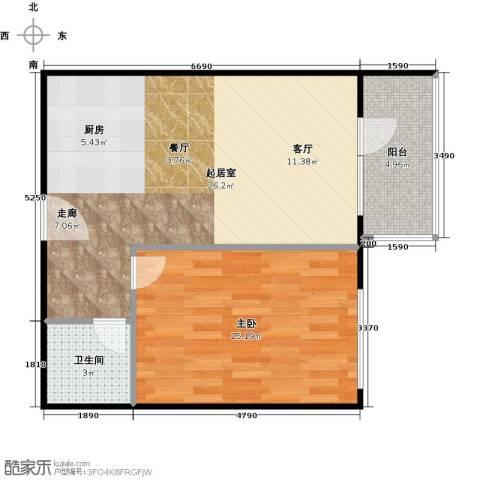 大西洋新城1室0厅1卫0厨61.00㎡户型图