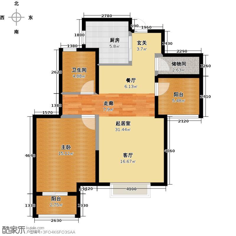 金地自在城77.00㎡40-41号楼D1a偶数层户型1室1卫1厨