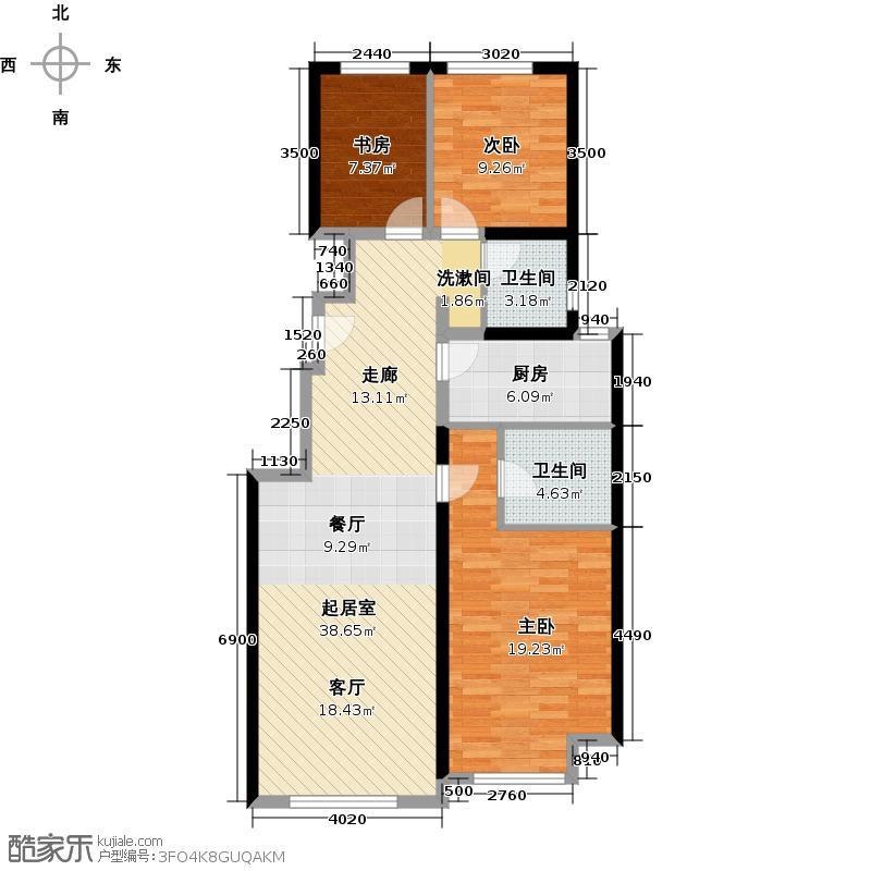 北京城建・上河湾99.76㎡户型3室2卫1厨