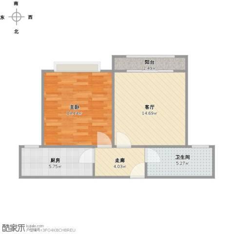 天山华庭1室1厅1卫1厨50.56㎡户型图