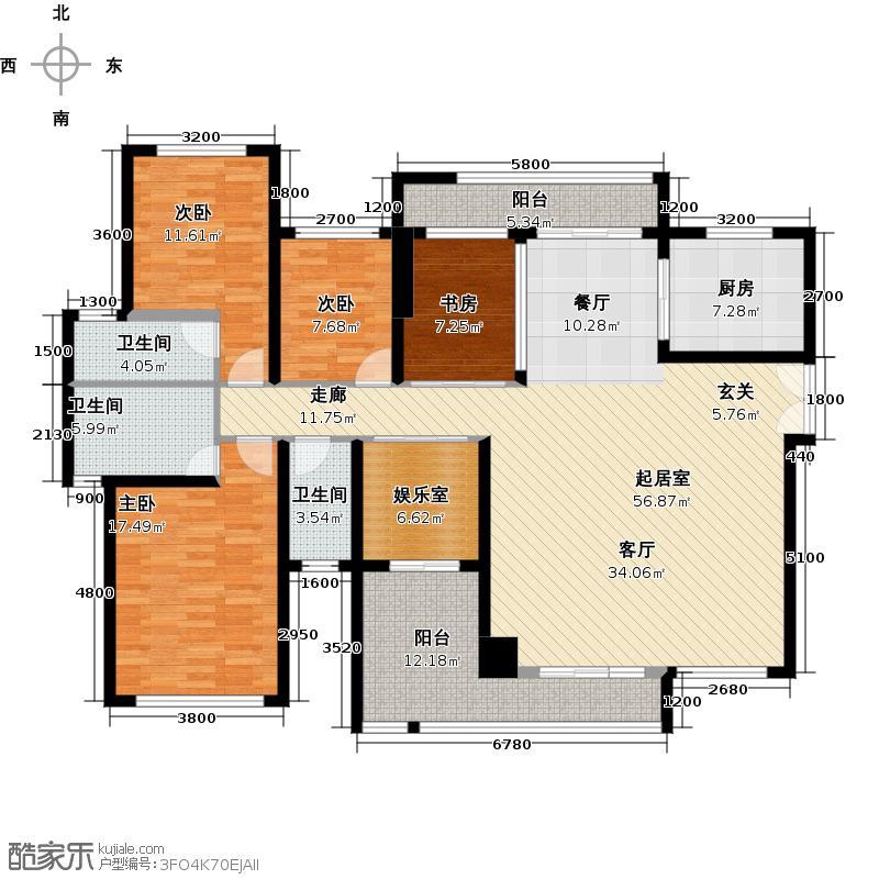 港隆国际166.74㎡1栋2单元02户型4室3卫1厨