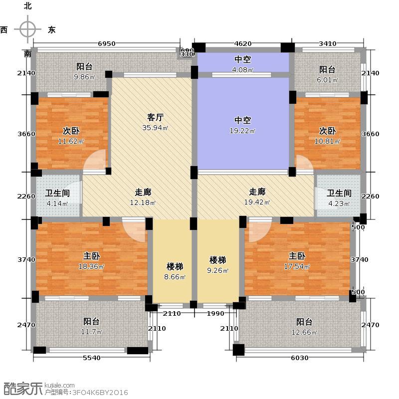 新湖果岭320.00㎡D二层空间平面图户型10室