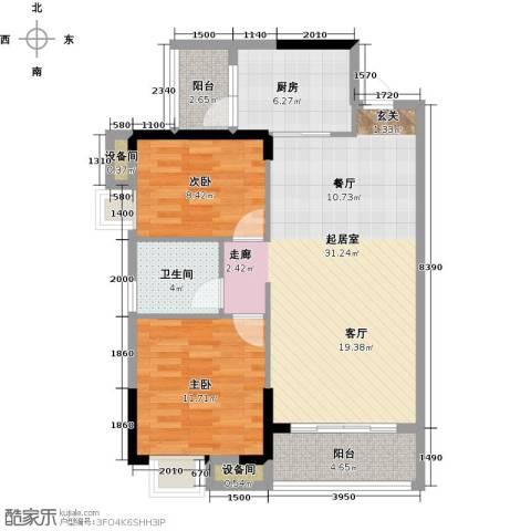 奥园金域2室0厅1卫1厨92.00㎡户型图