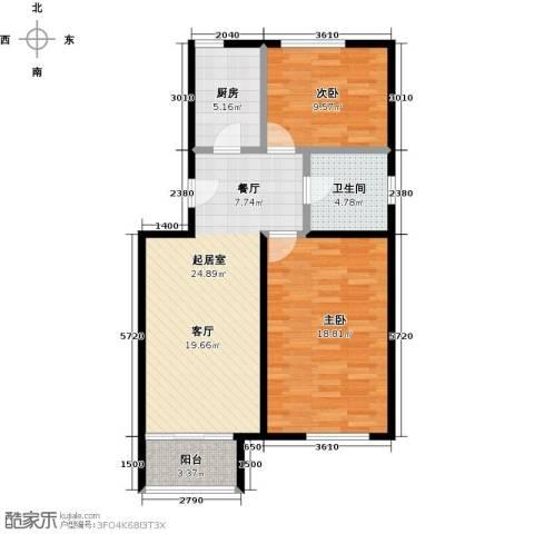 领秀慧谷2室0厅1卫1厨86.00㎡户型图