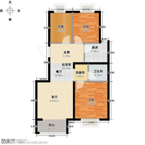 中国铁建・原香漫谷3室0厅1卫1厨88.00㎡户型图