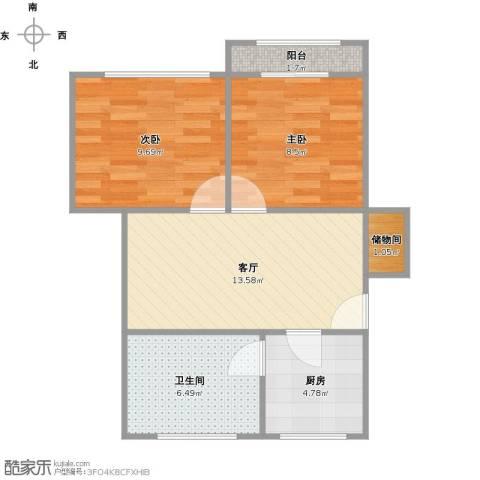 上中西路767弄小区2室1厅1卫1厨63.00㎡户型图