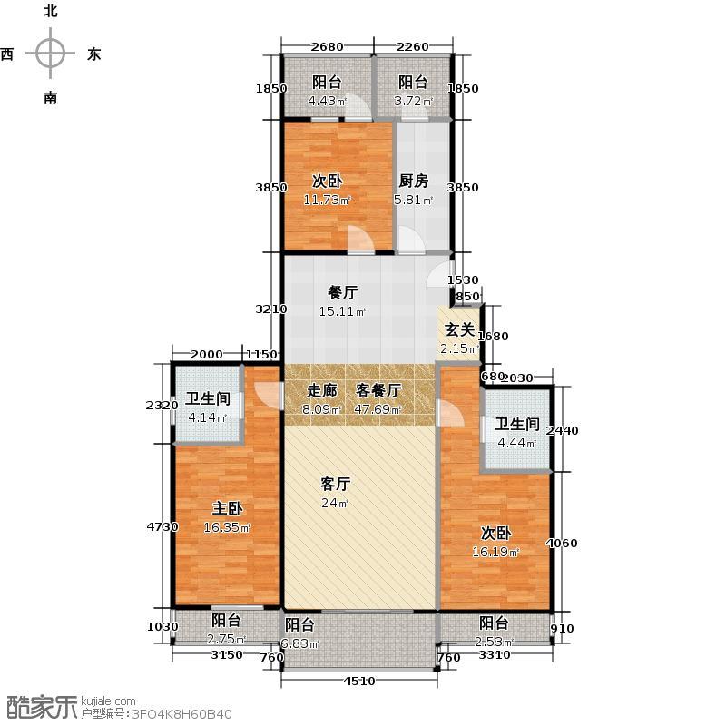 鼓楼东区136.22㎡户型3室1厅2卫1厨