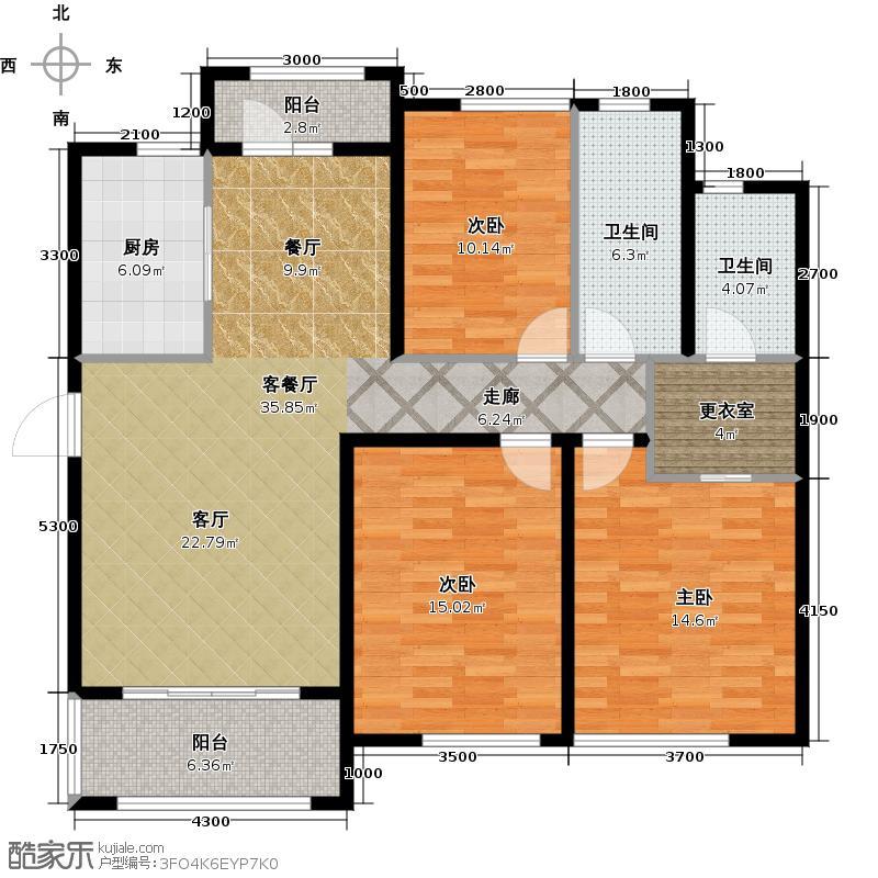 金地圣爱米伦136.00㎡高层E-6户型3室1厅2卫1厨