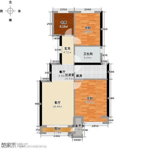 北京城建・上河湾3室0厅1卫1厨100.00㎡户型图